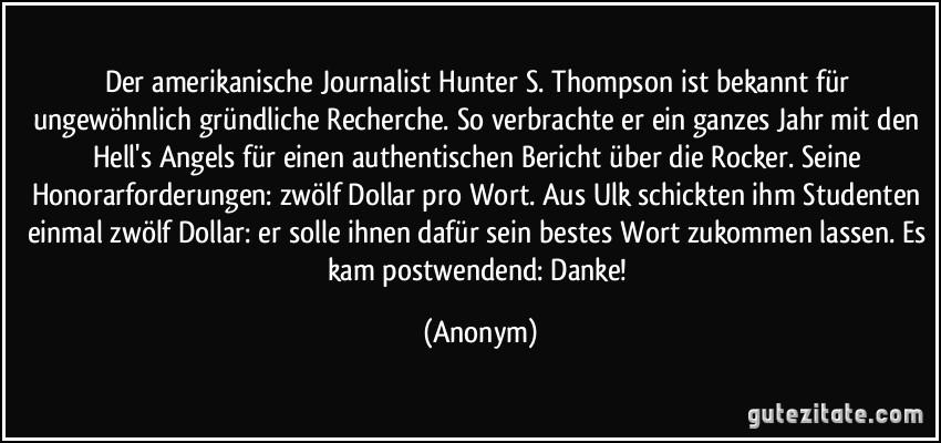 Bildergebnis für hunter s thompson zitate
