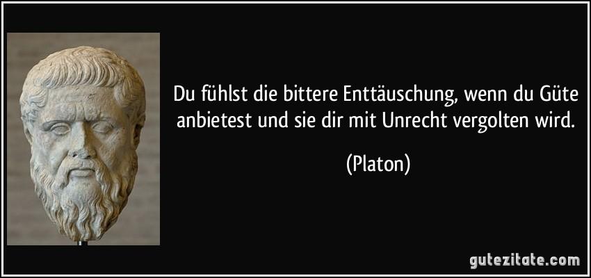 Du fühlst die bittere Enttäuschung, wenn du Güte anbietest und sie dir mit Unrecht vergolten wird. (Platon)