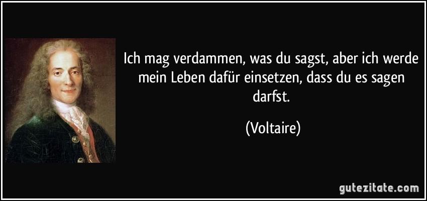 Ich mag verdammen, was du sagst, aber ich werde mein Leben dafür einsetzen, dass du es sagen darfst. (Voltaire)